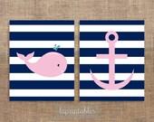 Nautical Pink & Navy Whale Art Print Set, Digital Wall Art, Printable Nursery Art Set, Set of 2 8x10 Prints, INSTANT DOWNLOAD