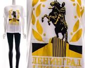 Vintage 70s White Leningrad Russia St.Petersburg T-Shirt Black Gold Tourist Tee Souvenir Shirt PAPER THIN Unisex XS S M