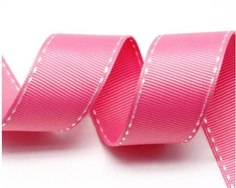 5Yards Hot Pink/White Grosgrain Stitch Ribbon - 5mm(2/8''), 10mm(3/8''), 15mm(5/8''), and 25mm(1'')