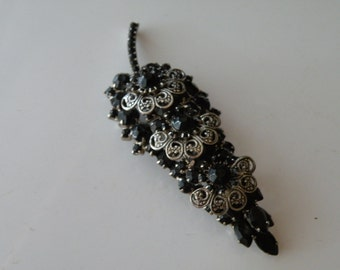 Silver Tone Back Juliana D and E Tiered Filigree black rhinestones brooch pin
