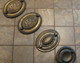 Vintage Drawer Pull Backs Without Bails Embellishments Assemblage Altered Art Craft Supplies