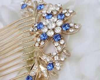 bridesmaid gold hair comb sapphire blue something blue hair accessories royal blue bridal hair combs wedding hair accessories accessory
