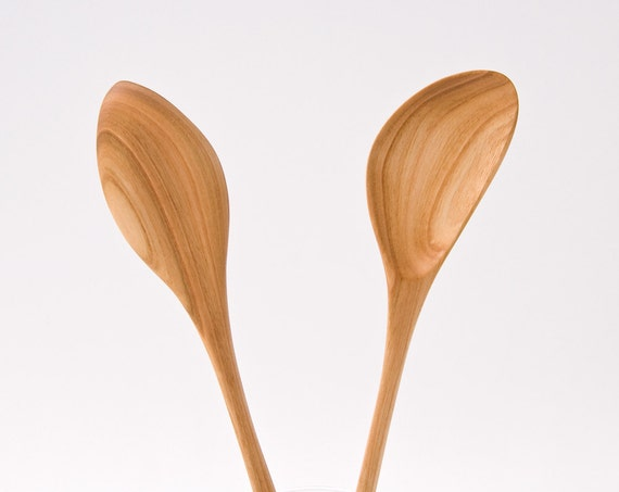 Hand carved wooden spoon wooden kitchen utensils eco for Wooden kitchen spoons