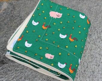 Organic Cotton Blanket - Green - Organic Blanket - Farm Animals