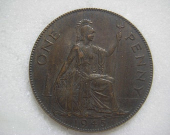1945 United Kingdom Bronze Coin, One Penny , George VI
