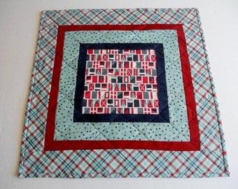 Quilted Table Topper Boating Theme, Nautical Quilted Table Runner, Boating, Flags, Stars, Americana, Navy Red Aqua