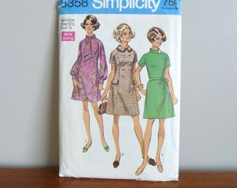 1969 Pattern - Dress w/ Two Collars in Half Sizes - Simplicity Printed 8358 - Vintage 1960s - Size 16 1/2 - 39-32-41
