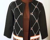Vintage 60's Polyester Knit Jacket Cardigan Sweater Geometric Pattern Black White Tomato Red Size S / M