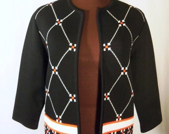 Vintage 60's Polyester Knit Jacket Cardigan Sweater Geometric Pattern Black White Tomato Red Size S / M