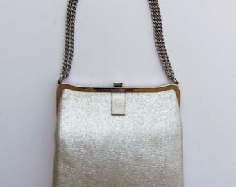 Vintage 60's Purse Evening Bag Handbag Silver Lame with Adjustable Chain Metallic Formal Prom