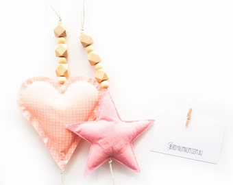Lucky Charm in blush linen or peach grid