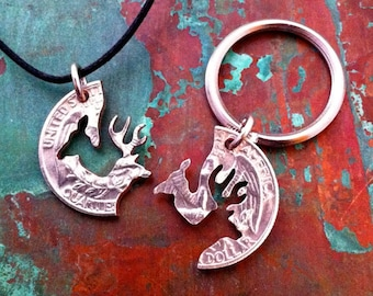 BUCK AND DOE Couples Necklaces or Keychains>> Love Tokens<<