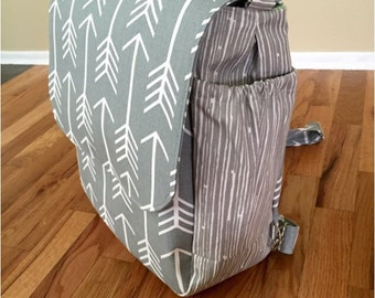 items similar to ready to ship rustic orange backpack diaper bag linen rounded bottom. Black Bedroom Furniture Sets. Home Design Ideas