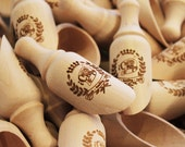 Mini Engraved Candy Scoop Favors - 50 Count - Wood with Custom Engraving