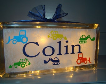 Glass Block Night Light Backhoe Tractor Construction Equipment Customized Personalized with Vinyl Lettering