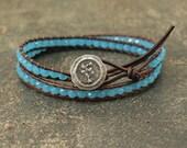 Petite Tree Jewelry Silver and Turquoise Leather Wrap Bracelet Boho Tree Bracelet