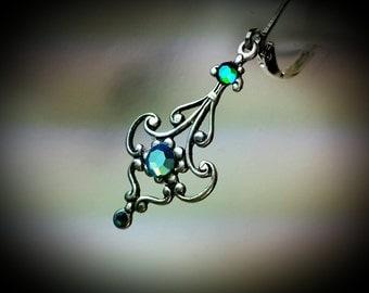 Aqua Blue Green Crystal Victorian Earrings, Antiqued Silver Filigree Dangle Drops Titanic Temptations Vintage Edwardian Bridal Style Jewelry