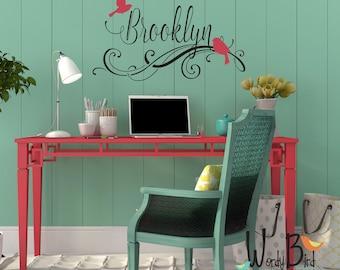 Personalized Name Decal with Birds - Nursery decor - Teen decor - dorm room decor