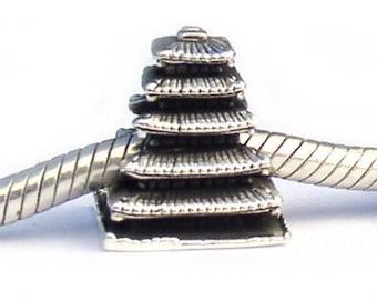To-ji Temple Japanese Pagoda Landmark Bead Sterling Silver LM015