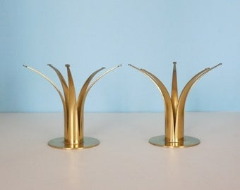 Pair of Vintage Brass Crown Candle Holders Made in Sweden