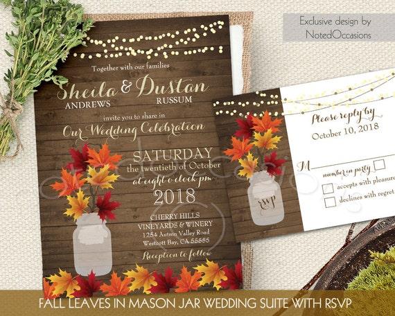 Rustic Fall Wedding Invitation Set Fall Leaves By