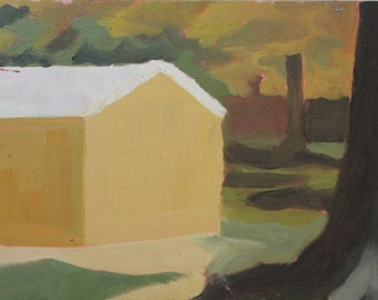 Original Oil Painting - Yellow Shed Landscape
