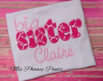 Persoanlized Big Sister Applique Embroidery Shirt Quatrefoil Pink