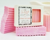 PINK SUGAR SOAP - large 5.5 oz, shea butter, mango butter, cocoa butter, vegan, natural, gift, bath