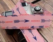 Camera Strap - Camera Neck Strap - Navy Arrows on Pink - Gifts for Women - dSLR Camera Strap - Arrow Camera Strap