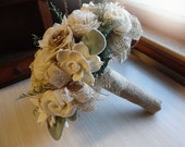 Rustic Woodland Bouquet with Sola Flowers, Burlap, Lace, Grey Green Lambs Ear Leaves and Green Caspia. Made to Order.
