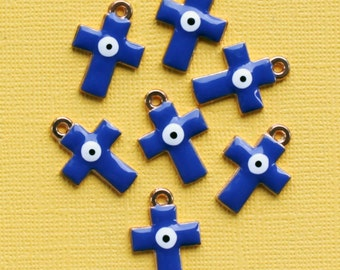 5 Evil Eye Cross Charms Gold Plated Enamel E11 -