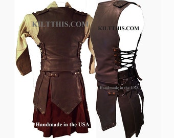 Interchangeable Leather Roman Kilt Gadiator Kilt Set Modern Kilt Contemporary Kilt Utility Kilt
