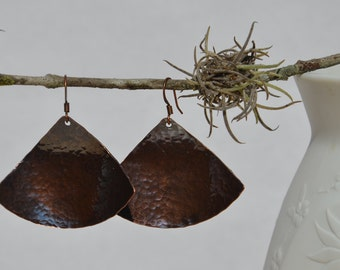 Hand Hammered Oxidized Copper Earrings....no. 471