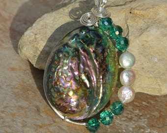 Wire Wrapped Abalone Shell with Crystals and Pearls Pendant......no. 7406