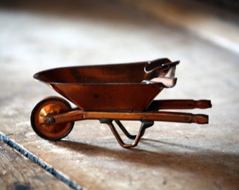 Vintage Copper Wheelbarrow Ashtray