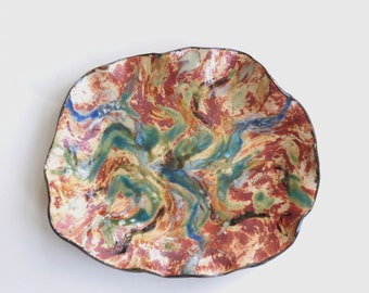 Abstract Ceramic Centerpiece Tray Hand Built Contemporary Clay Decorative Dish Pottery Art Vessel Home Decor Statement Piece