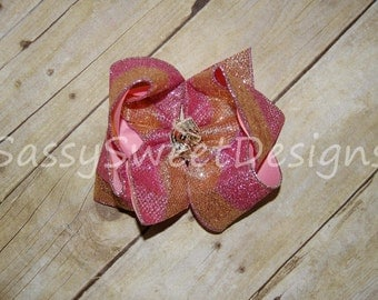 SSD Pink & Gold Glitter Boutique Hairbow Sassy Sweet Designs Custom