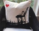 Oakland Shipping Crane Square Canvas Throw Pillow