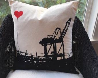 Oakland Shipping Crane Square Canvas Throw Pillow