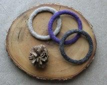3 Felt Bangles, Wool Felt Bracelets, Knit Bangles, Knit Bracelets, Felt Cuff, Customized Bracelets, Gift under 20 Custom Colour Custom Color