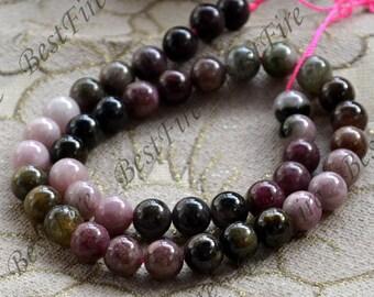 Single 10mm round Multicolor tourmaline stone nugget beads,tourmaline stone loose semi-precious stone beads,loose strands