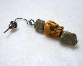 Men's Earring, Skull Earring, Pyrite and Carved Bone Skull Earring