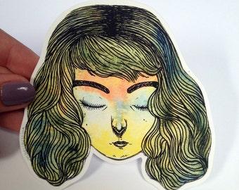 Sleepy Girl Vinyl Sticker