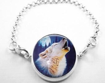 Wolf Bracelet Glass Tile Bracelet Glass Tile Jewelry Wolf Jewelry Wolf Bracelet Silver Bracelet  Silver Jewelry