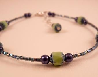 Beaded Anklet Ankle Bracelet Blue Anklet  Beaded Ankle Bracelet Beaded Jewelry Green Jewelry Blue Jewelry