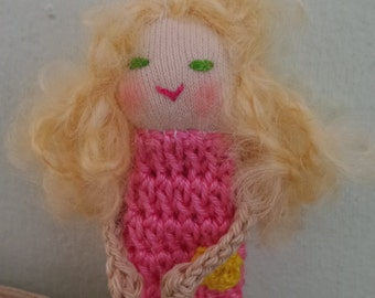 Finger Puppet Pink Girl Finger Puppet, Small Doll, Crochet Finger Puppet,