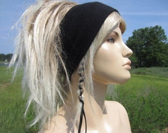 Knit Headband WIDE Black Hair band Head Warmer Cotton Cashmere Men's and Women's Tube Hat A1392