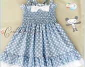 Periwinkle blue polka dot dress for girls, Easter dress, Party dress, Light blue dress for baby, Blue birthday dress