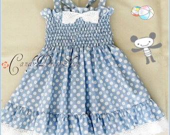 Periwinkle blue and white polka-dot dress for girls, Easter dress, Light blue dress for girls, Blue birthday dress, Ruched dress for girls