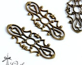 10pcs Antique Bronze plated RAW brass Filigree  Jewelry Stampings Connectors Setting Cab Base Connector Finding  (FILIG-B-56)